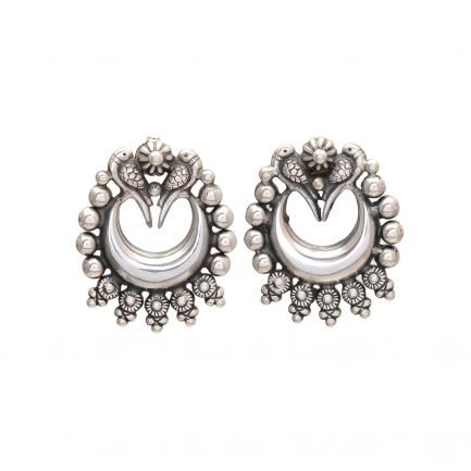 Baby Crescent Crown Silver Earring 2
