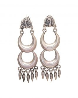 Silver Crescent Crown Earring
