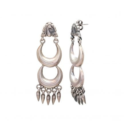 Silver Crescent Crown Earring 3
