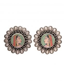Traditional Silver Earring-Hand Painted Maharani