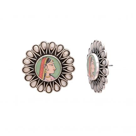Traditional Silver Earring-Hand Painted Maharani 2