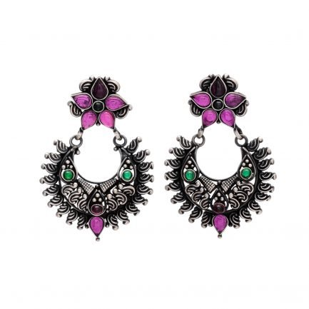Beautiful Silver Floral Crown Earring 3
