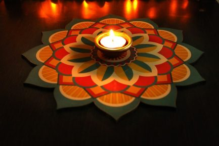Use it as floor Rangoli, Table Top, Serving Plate, you can use separate diyas and floating diya for decoration.
