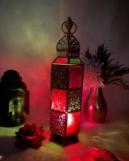 Vintage Moroccan Table and Hanging Lantern